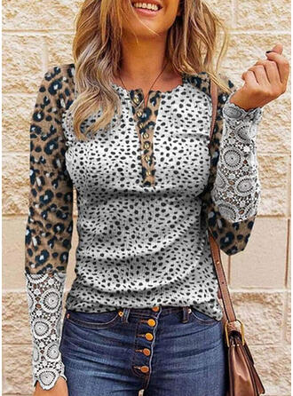 Leopard Lace Round Neck Long Sleeves Casual Blouses