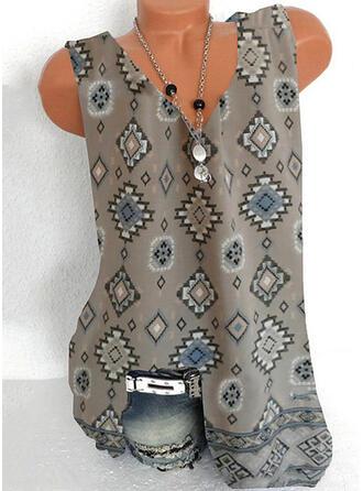 Nadruk Dekolt w kształcie litery V Bez Rękawów Koszulki bez rękawów