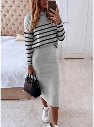 Striped Long Sleeves Bodycon Pencil Elegant Midi Dresses