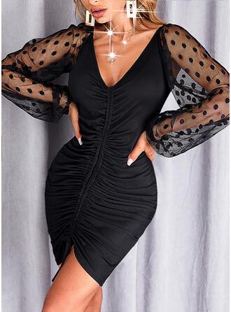 固体 長袖 ボディコンドレス 膝上 リトルブラックドレス/エレガント ドレス