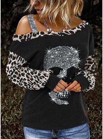 payetler leopárd Tek Omuzlu Uzun kollu Günlük Blúzok