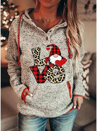 Stampa griglia leopardo Figura tasche Maniche lunghe Felpa natalizia