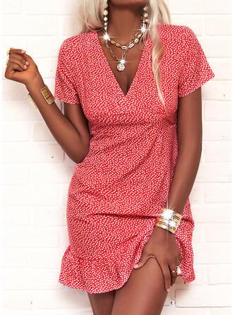 印刷 半袖 シースドレス 膝上 カジュアル ドレス