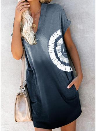 Impresión/Tie Dye Manga Corta Tendencia Sobre la Rodilla Casual Vestidos