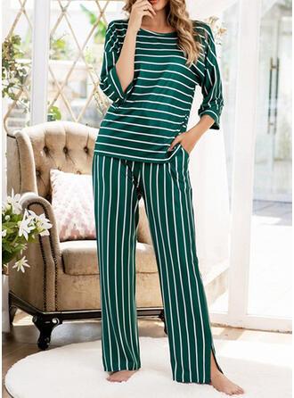 Poliéster Impressão Listra Miscelânea Conjunto de pijama