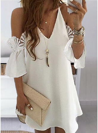 Lace/Solid 3/4 Sleeves/Cold Shoulder Sleeve Shift Above Knee Casual/Elegant Dresses