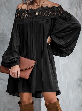 Encaje/Sólido Manga Larga Tendencia Sobre la Rodilla Pequeños Negros/Elegante Vestidos