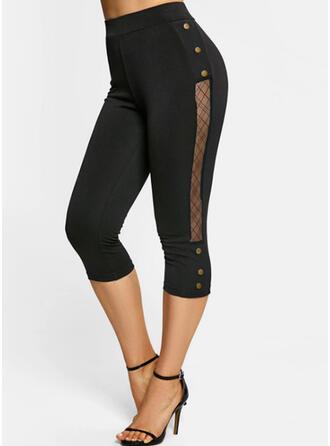 Sólido Capris Casual Tallas Grande Pasado Botones Pantalones Polainas