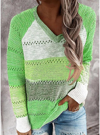 カラーブロック Vネック カジュアル セーター