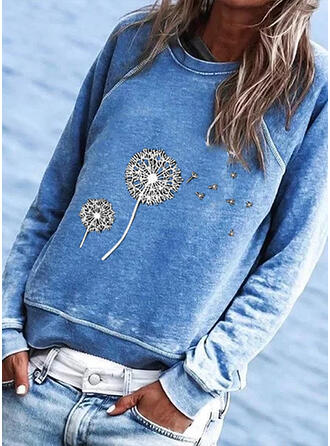 Dandelion Print Round Neck Long Sleeves T-shirts