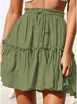 Polyester Jednobarevný Nad kolena Sukně do tvaru A