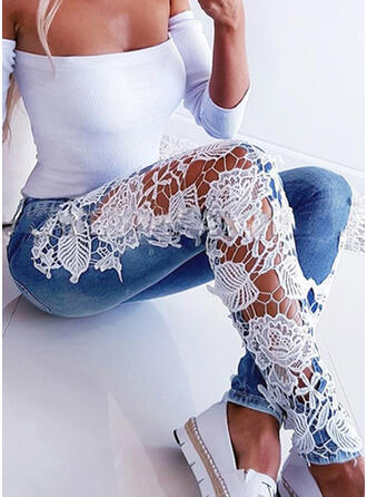 Jacquard Spets Print Mager Jacquard Spets Jeans Denim & Jeans