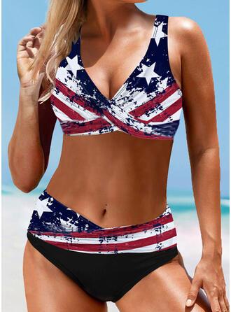 Star Strap V-Neck Vintage Plus Size Bikinis Swimsuits