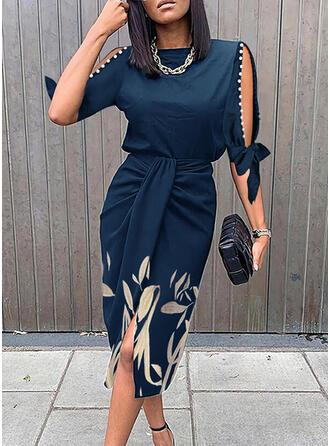 印刷/フローラル 1/2袖 冷たい肩の袖 シースドレス 膝丈 エレガント ドレス
