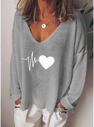 Print Hjärta V-ringning Långa ärmar Fritids T-shirts