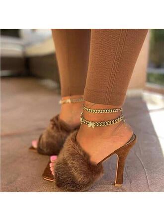 婦人向け ファブリック スティレットヒール サンダル スリッパ とともに ソリッドカラー 靴