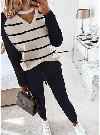 Pruhované Neformální Plus velikost tee & Dvoudílné outfity Set ()