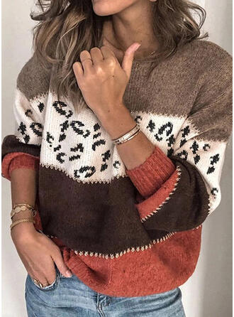 Impresión Bloque de Color Cuello Redondo Suéteres