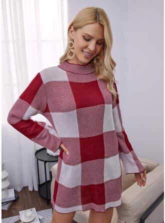 カラーブロック ラウンドネック カジュアル セータードレス