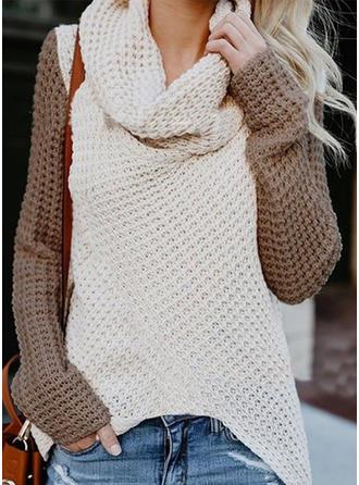 Bloque de Color Cuello de Capucha Suéteres