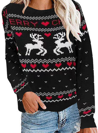 Zwierzęcy Καρδιά Kerek nyak Hétköznapokra Karácsony Csúnya karácsonyi pulóver