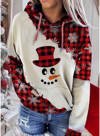 クリスマス 印刷 グリッド 長袖 クリスマス・スウェットシャツ