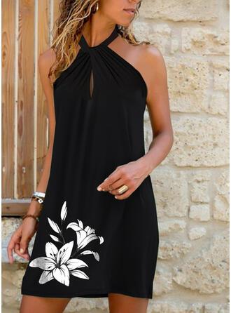 印刷/フローラル ノースリーブ シフトドレス 膝上 カジュアル ドレス