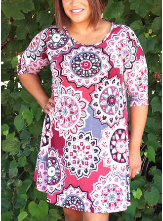 Plus Size Print 1/2 Sleeves Shift Above Knee Casual Vacation Dress