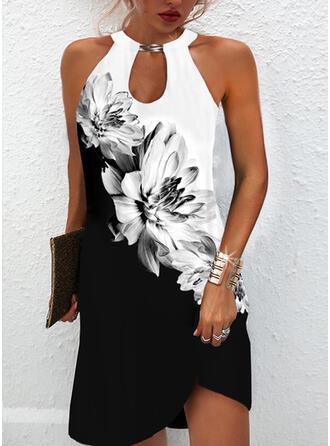 Impresión/Floral/Bloque de color Sin mangas Tendencia Sobre la Rodilla Vestidos