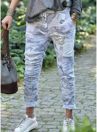 Impresión Camuflaje Lentejuelas Largo Casual Tallas Grande Bolsillo cordraystring Pantalones