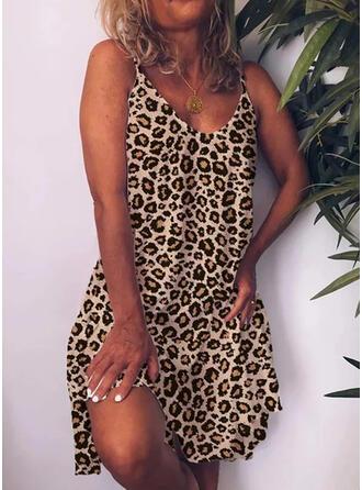 Leopardo Sin mangas Tendencia Hasta la Rodilla Sexy Vestidos