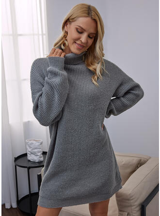 固体 ハイネック カジュアル セータードレス