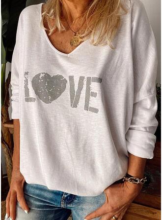 Nadruk Serce Dekolt w kształcie litery V Długie rękawy Casual T-shirty
