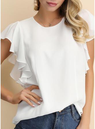 Jednobarevný Kulatý Výstřih Krátké rukávy Neformální Elegant Bluze