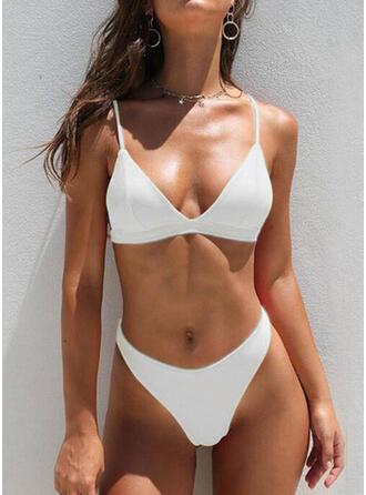 Color Sólido Cintura Alta Correa Cuello en V Sexy Casual Bikinis Trajes de baño