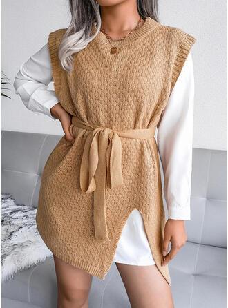 固体 ノースリーブ シースドレス 膝上 カジュアル ドレス