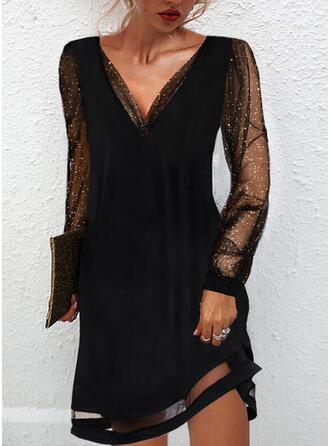 固体 スパンコール 長袖 シフトドレス 膝上 リトルブラックドレス/パーティー/エレガント ドレス