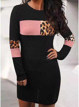 Trozos de color Leopardo Cuello Redondo Casual Suéteres