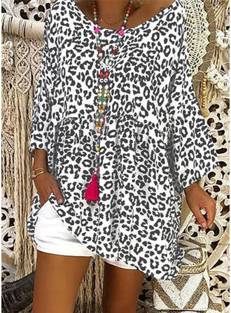 Leopardo Cuello redondo Manga Larga Casual Blusas