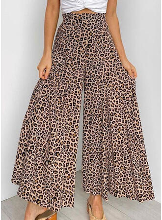 Leopardo Largo Casual Pantalones