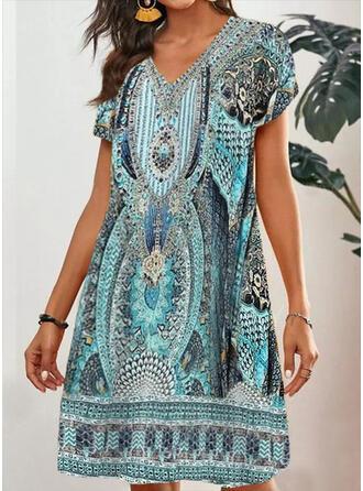 印刷 半袖 シフトドレス 膝丈 カジュアル/ボーホー チュニック ドレス