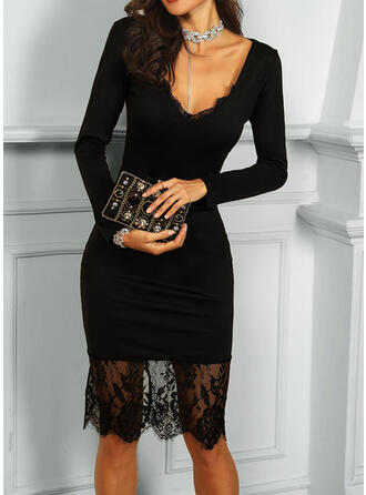 Lace/Solid Long Sleeves Bodycon Knee Length Little Black/Sexy/Party Dresses