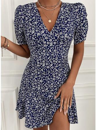 Nadrukowana/Kwiatowy Krótkie rękawy/Bufiaste rękawy W kształcie litery A Nad kolana Casual Sukienki