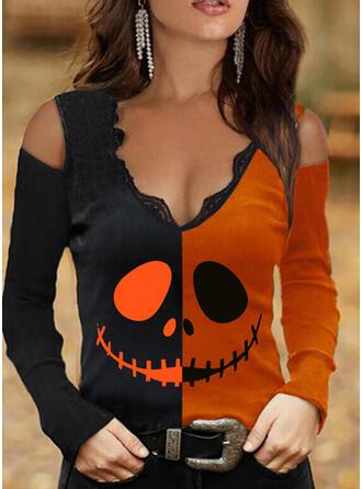 halloween Trozos de color Impresión Encaje Top Con Hombros Manga Larga Camisetas