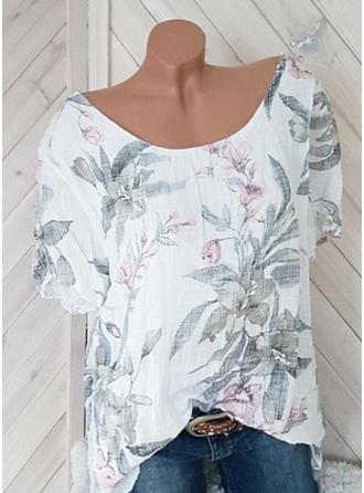 Květiny Kulatý Výstřih Krátké rukávy Neformální Bluze