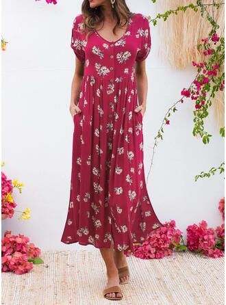 Impresión/Floral Manga Corta Tendencia Casual Midi Vestidos