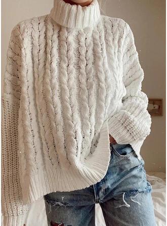 Jednolity Prążkowana dzianina Golf Casual Swetry