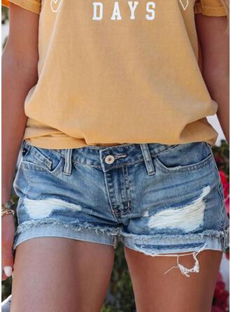 固体 デニム 膝上 カジュアル プラスサイズ pocket rippped ボタン パンツ ショートパンツ デニムジーンズ