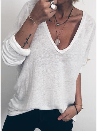 Sólido Cuello en V Manga Larga Casual Camisetas