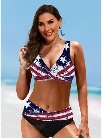 Estrella Correa Cuello en V Antiguo Talla extra Bikinis Trajes de baño